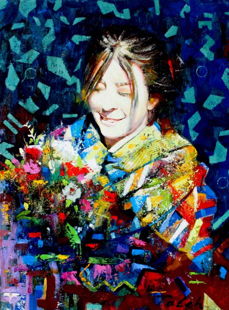 'Frau mi Blumen' 80 X 60-min